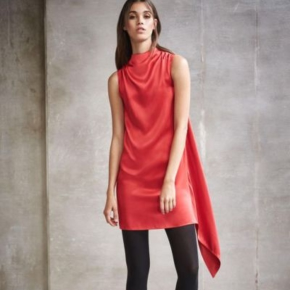 Helmut Lang Red Drape Neck Overlay Dress Nwt